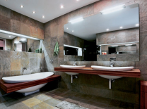 batroom wall tiles applications by stone veneers